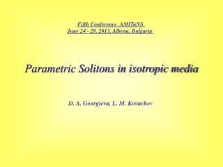 Parametric Solitons in isotropic media
