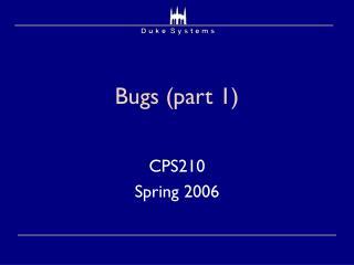 Bugs (part 1)