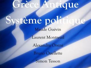 Grèce Antique Système politique