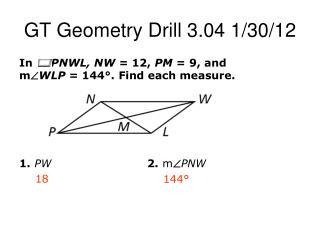 GT Geometry Drill 3.04 1/30/12
