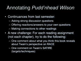 Annotating  Pudd'nhead Wilson