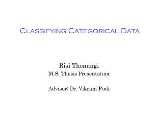 Classifying Categorical Data