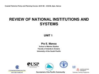 REVIEW OF NATIONAL INSTITUTIONS AND SYSTEMS