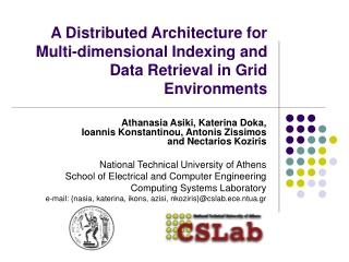 A Distributed Architecture for Multi-dimensional Indexing and Data Retrieval in Grid Environments