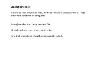 Connecting to Files