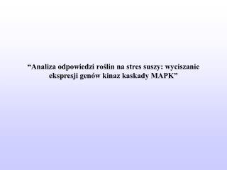 """""""Analiza  odpowiedzi  roślin na stres suszy: wyciszanie  ekspresji genów  kinaz kaskady MAPK"""""""