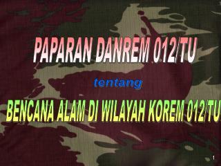 PAPARAN DANREM 012/TU