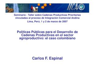Contenido Contexto social económico y político del país La Política de Competitividad de Colombia