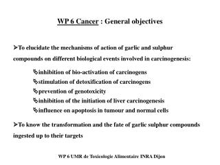 WP 6 Cancer  : General objectives