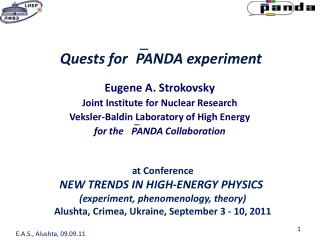 Quests for? PANDA experiment