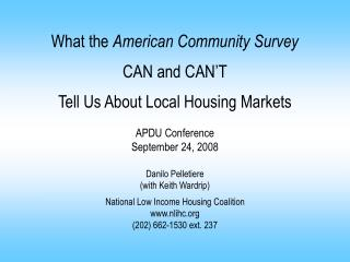 The American Community Survey in Context Presentation Outline