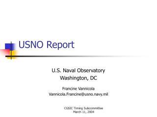 USNO Report