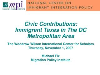 Civic Contributions:  Immigrant Taxes in The DC Metropolitan Area