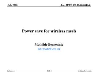Power save for wireless mesh