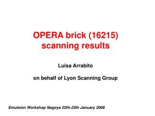 OPERA brick (16215) scanning results