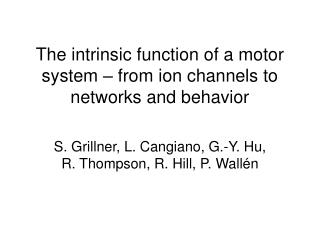 The intrinsic function of a motor system – from ion channels to networks and behavior