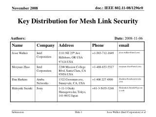 Key Distribution for Mesh Link Security