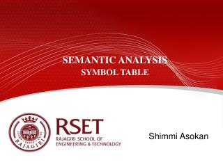 SEMANTIC ANALYSIS SYMBOL TABLE