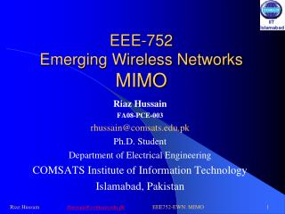 EEE-752 Emerging Wireless Networks MIMO