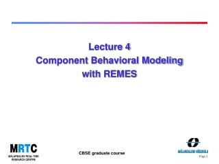 Lecture 4  Component Behavioral Modeling with REMES