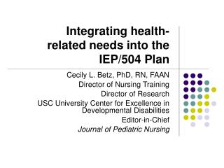 Integrating health-related needs into the IEP