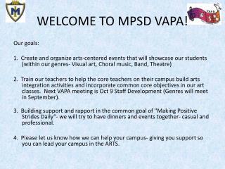 WELCOME TO MPSD VAPA!
