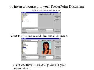 To  insert a picture into your PowerPoint Document