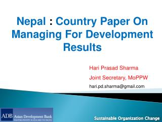 Nepal  :  Country Paper On Managing For Development Results