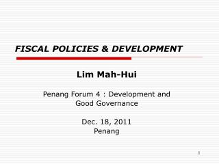 FISCAL POLICIES & DEVELOPMENT