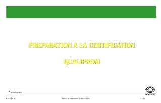 PREPARATION A LA CERTIFICATION QUALIPROM