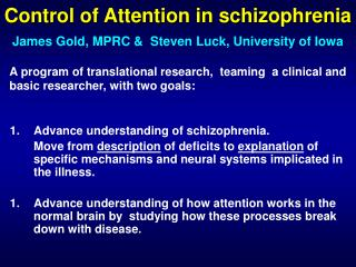 Control of Attention in schizophrenia
