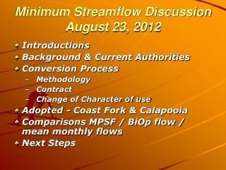 Minimum Streamflow Discussion August 23, 2012
