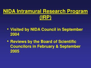 NIDA Intramural Research Program (IRP)