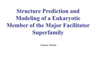 Structure Prediction and Modeling of a Eukaryotic Member of the Major Facilitator Superfamily