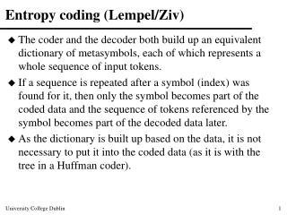 Entropy coding (Lempel/Ziv)