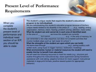 Present Level of Performance Requirements