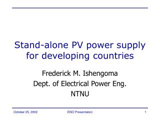 Stand-alone PV power supply for developing countries