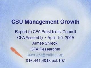 CSU Management Growth