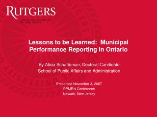 Lessons to be Learned:  Municipal Performance Reporting in Ontario