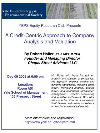 By Robert Holler  (Yale MPPM '93) Founder and Managing Director  Chapel Street Advisors LLC