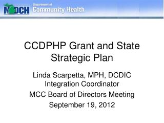 CCDPHP Grant and State Strategic Plan