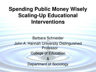 Spending Public Money Wisely Scaling-Up Educational Interventions