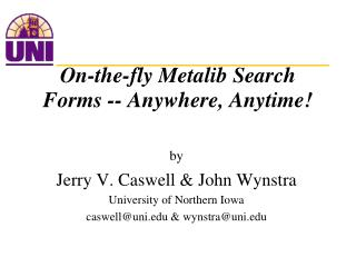 On-the-fly Metalib Search Forms -- Anywhere, Anytime!