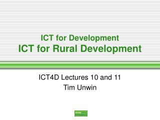 ICT for Development ICT for Rural Development