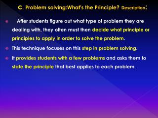 c . Problem  solving:What's  the Principle? Description :