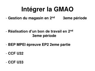 Int�grer la GMAO