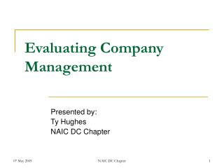 Evaluating Company Management