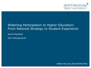 Widening Participation to Higher Education: From National Strategy to Student Experience