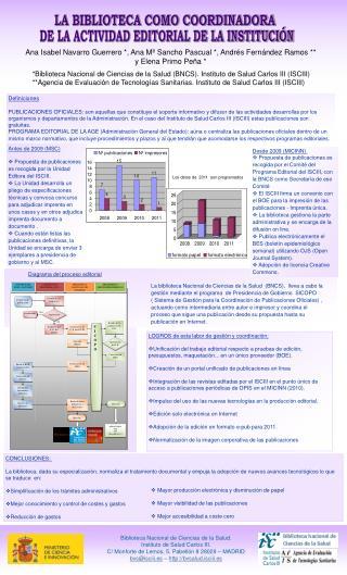 *Biblioteca Nacional de Ciencias de la Salud (BNCS). Instituto de Salud Carlos III (ISCIII)