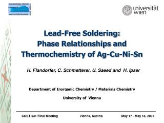 Lead-Free Soldering: Phase Relationships and Thermochemistry of Ag-Cu-Ni-Sn